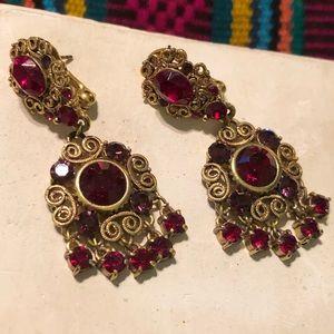 Chandelier Earrings Red Rhinestones in Brass
